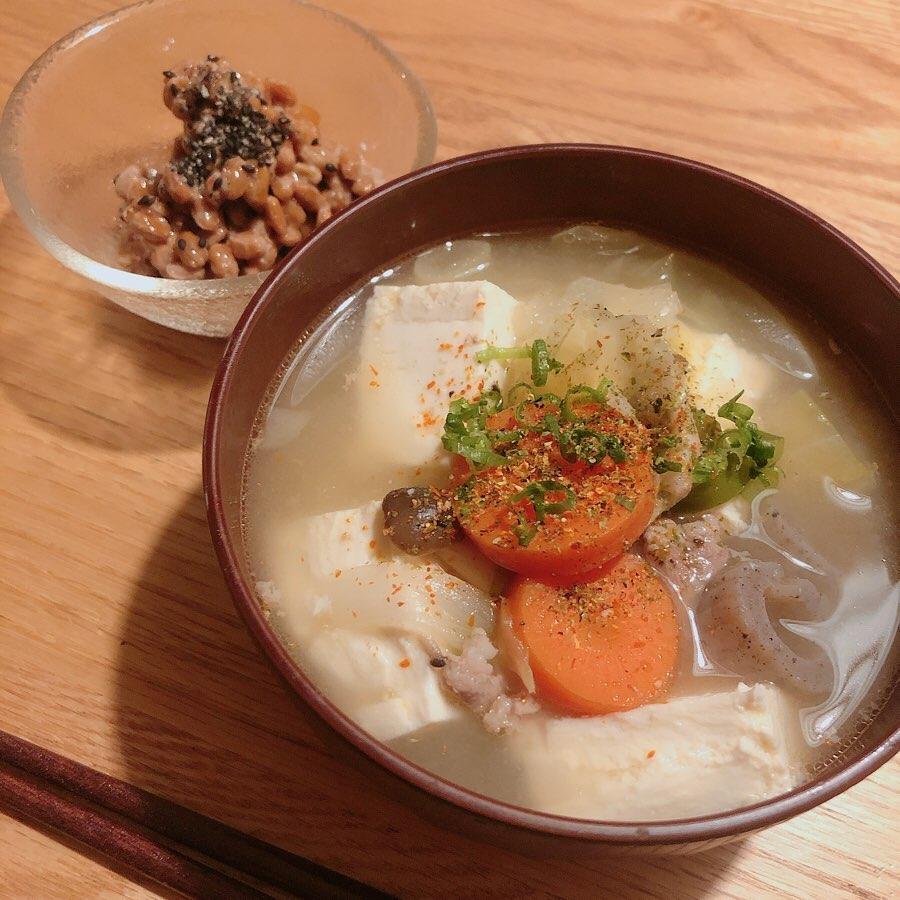 胡麻とお酢で楽しむ納豆と汁