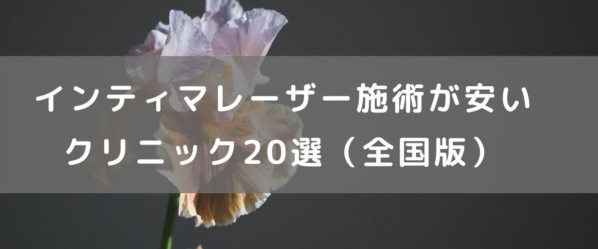 インティマレーザー施術が安いクリニック20選(全国版)